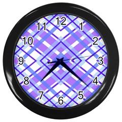 Geometric Plaid Pale Purple Blue Wall Clocks (black)