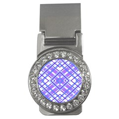Geometric Plaid Pale Purple Blue Money Clips (cz)