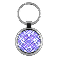 Geometric Plaid Pale Purple Blue Key Chains (round)