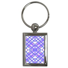 Geometric Plaid Pale Purple Blue Key Chains (rectangle)