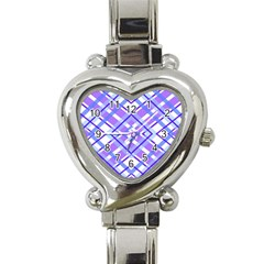 Geometric Plaid Pale Purple Blue Heart Italian Charm Watch