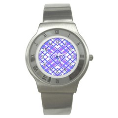 Geometric Plaid Pale Purple Blue Stainless Steel Watch