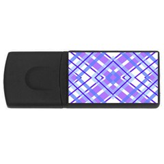 Geometric Plaid Pale Purple Blue Usb Flash Drive Rectangular (4 Gb)