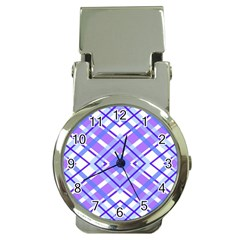 Geometric Plaid Pale Purple Blue Money Clip Watches