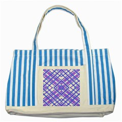 Geometric Plaid Pale Purple Blue Striped Blue Tote Bag