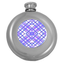 Geometric Plaid Pale Purple Blue Round Hip Flask (5 Oz)