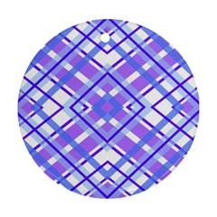 Geometric Plaid Pale Purple Blue Round Ornament (two Sides)
