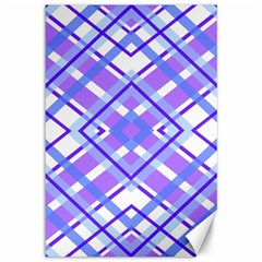 Geometric Plaid Pale Purple Blue Canvas 12  X 18