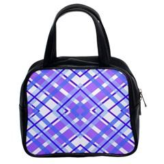 Geometric Plaid Pale Purple Blue Classic Handbags (2 Sides)