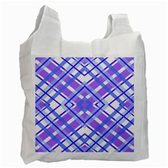 Geometric Plaid Pale Purple Blue Recycle Bag (two Side)