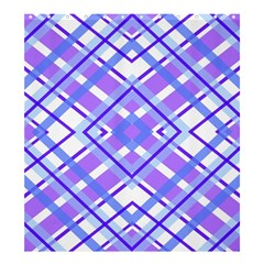 Geometric Plaid Pale Purple Blue Shower Curtain 66  X 72  (large)