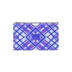 Geometric Plaid Pale Purple Blue Cosmetic Bag (Small)