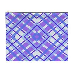 Geometric Plaid Pale Purple Blue Cosmetic Bag (xl)