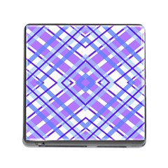 Geometric Plaid Pale Purple Blue Memory Card Reader (square)