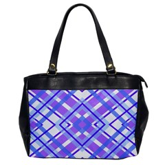 Geometric Plaid Pale Purple Blue Office Handbags