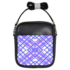 Geometric Plaid Pale Purple Blue Girls Sling Bags