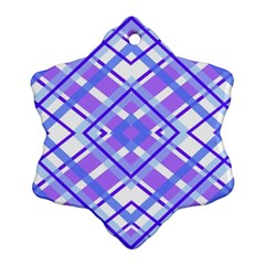 Geometric Plaid Pale Purple Blue Snowflake Ornament (two Sides)