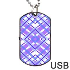 Geometric Plaid Pale Purple Blue Dog Tag Usb Flash (two Sides)