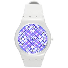 Geometric Plaid Pale Purple Blue Round Plastic Sport Watch (m)