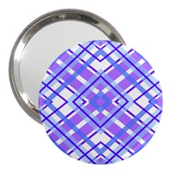 Geometric Plaid Pale Purple Blue 3  Handbag Mirrors