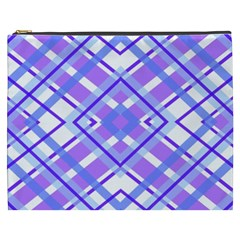 Geometric Plaid Pale Purple Blue Cosmetic Bag (xxxl)