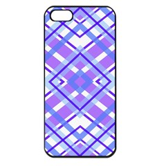 Geometric Plaid Pale Purple Blue Apple Iphone 5 Seamless Case (black)
