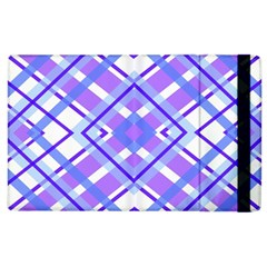 Geometric Plaid Pale Purple Blue Apple Ipad 2 Flip Case