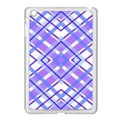 Geometric Plaid Pale Purple Blue Apple Ipad Mini Case (white)