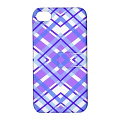 Geometric Plaid Pale Purple Blue Apple iPhone 4/4S Hardshell Case with Stand