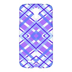 Geometric Plaid Pale Purple Blue Samsung Galaxy S4 I9500/i9505 Hardshell Case