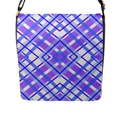 Geometric Plaid Pale Purple Blue Flap Messenger Bag (l)