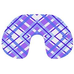 Geometric Plaid Pale Purple Blue Travel Neck Pillows