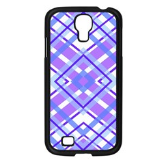 Geometric Plaid Pale Purple Blue Samsung Galaxy S4 I9500/ I9505 Case (black)