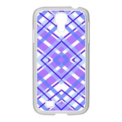 Geometric Plaid Pale Purple Blue Samsung Galaxy S4 I9500/ I9505 Case (white)