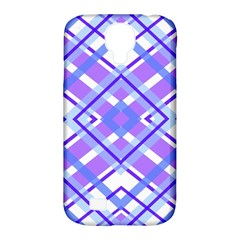 Geometric Plaid Pale Purple Blue Samsung Galaxy S4 Classic Hardshell Case (pc+silicone)