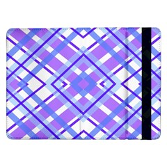 Geometric Plaid Pale Purple Blue Samsung Galaxy Tab Pro 12 2  Flip Case