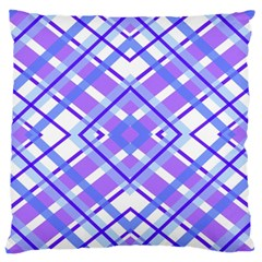 Geometric Plaid Pale Purple Blue Large Flano Cushion Case (one Side)