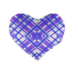 Geometric Plaid Pale Purple Blue Standard 16  Premium Flano Heart Shape Cushions