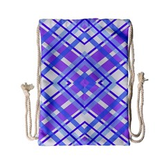 Geometric Plaid Pale Purple Blue Drawstring Bag (small)