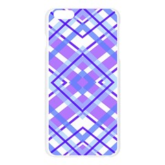 Geometric Plaid Pale Purple Blue Apple Seamless iPhone 6 Plus/6S Plus Case (Transparent)