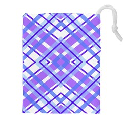 Geometric Plaid Pale Purple Blue Drawstring Pouches (xxl)