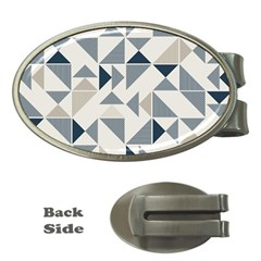 Geometric Triangle Modern Mosaic Money Clips (oval)
