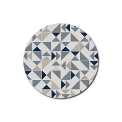 Geometric Triangle Modern Mosaic Rubber Round Coaster (4 Pack)