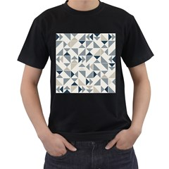 Geometric Triangle Modern Mosaic Men s T Shirt (black) (two Sided)