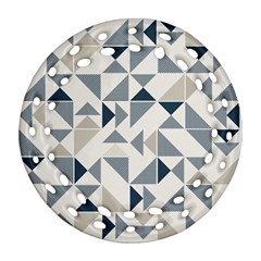 Geometric Triangle Modern Mosaic Ornament (Round Filigree)