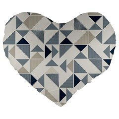 Geometric Triangle Modern Mosaic Large 19  Premium Heart Shape Cushions
