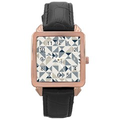 Geometric Triangle Modern Mosaic Rose Gold Leather Watch