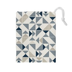 Geometric Triangle Modern Mosaic Drawstring Pouches (Large)