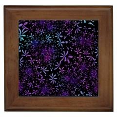 Retro Flower Pattern Design Batik Framed Tiles