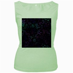 Retro Flower Pattern Design Batik Women s Green Tank Top